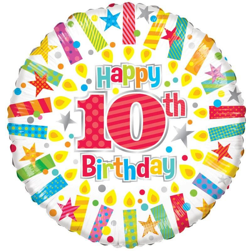 18 Inch Happy 10th Birthday Candles Foil Balloon 19889