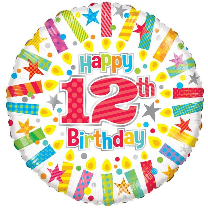 18 Inch Happy 12th Birthday Candles Foil Balloon 19891
