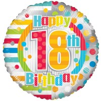 18 Inch Unisex Happy 18th Birthday Foil Balloon