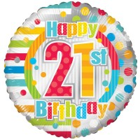 18 Inch Unisex Happy 21st Birthday Foil Balloon