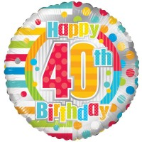18 Inch Unisex Happy 40th Birthday Foil Balloon