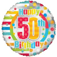 18 Inch Unisex Happy 50th Birthday Foil Balloon