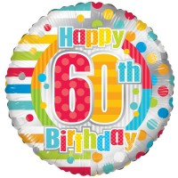 18 Inch Unisex Happy 60th Birthday Foil Balloon