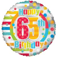 18 Inch Unisex Happy 65th Birthday Foil Balloon