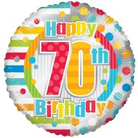 18 Inch Unisex Happy 70th Birthday Foil Balloon