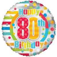 18 Inch Unisex Happy 80th Birthday Foil Balloon