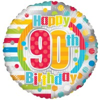 18 Inch Unisex Happy 90th Birthday Foil Balloon