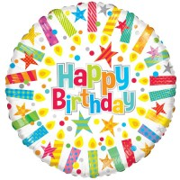 18 Inch Happy Birthday Candles Foil Balloon