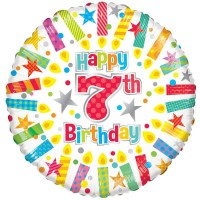 18 Inch Happy 7th Birthday Candles Foil Balloon