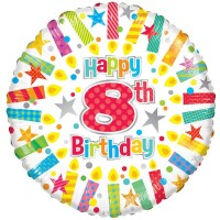 18 Inch Happy 8th Birthday Candles Foil Balloon
