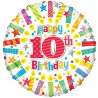 18 Inch Happy 10th Birthday Candles Foil Balloon