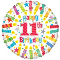 18 Inch Happy 11th Birthday Candles Foil Balloon