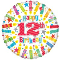 18 Inch Happy 12th Birthday Candles Foil Balloon