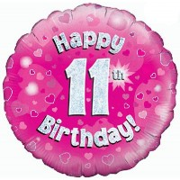 18 Inch Happy 11th Birthday Pink Foil Balloon