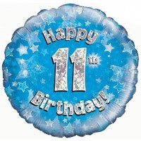 18 Inch Happy 11th Birthday Blue Foil Balloon