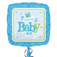 17 Inch Welcome Baby Boy Train Foil Balloon