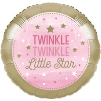 18 inch Twinkle Little Star Pink Birthday Foil Balloon