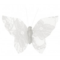 White Lace Butterfly on Clip