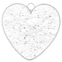 White Thread Heart - Medium