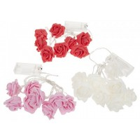 Light Up Foam Rose Flower on Wire - White