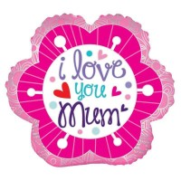18 Inch I Love You Mum Flower Foil Balloon
