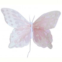 Pale Pink & Iridescent Feather Butterflies