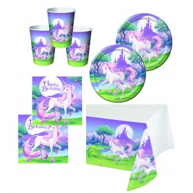 Fantasy Unicorn Party Tableware Set 16 Guests